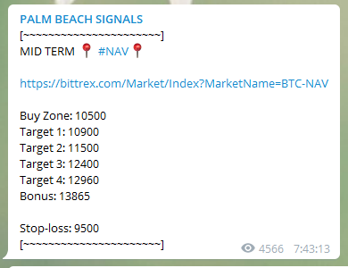 Cryptocurrency signal example